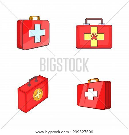First Aid Kit Icon Set. Cartoon Set Of First Aid Kit Icons For Your Web Design Isolated On White Bac