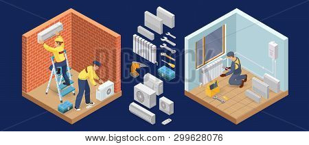 Conditioner Service. Heating Service. Isometric Interior Repairs Concept. Vector.
