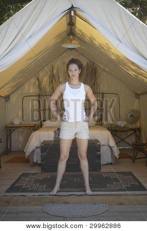 Portrait of woman in tent