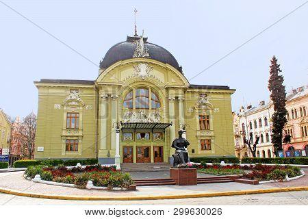 Chernivtsi, Ukraine - April 22, 2017: Chernivtsi Music And Drama Theater, Olga Kobylianska Monument
