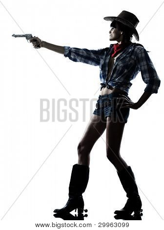 one woman cowgirl  shooting gun revolver studio isolated on white background