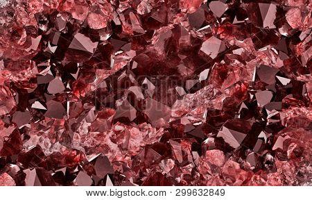 macro photo of red ruby druse