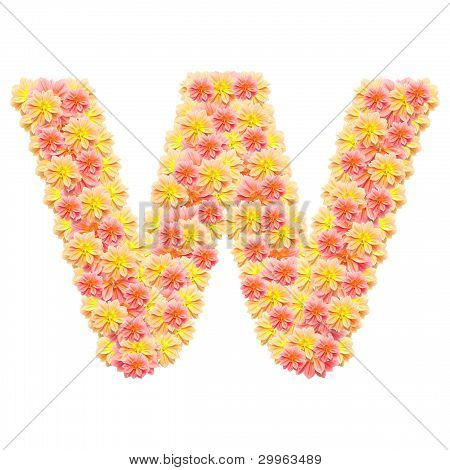 W,flower Alphabet Isolated On White