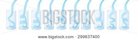 Vector Water Splash Pour In Glass Set. Vector Isolated Transparent Illustration.. Healthy Vitamin Dr