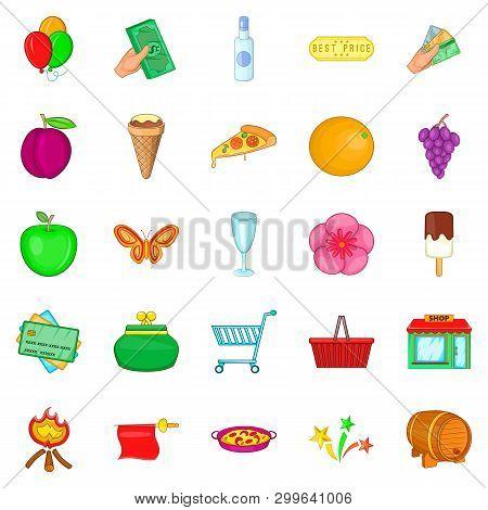Evening Revelry Icons Set. Cartoon Set Of 25 Evening Revelry Icons For Web Isolated On White Backgro