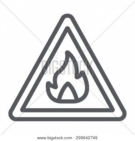 Flammable Sign Line Icon, Warning And Attention, Fire Symbol Sign, Vector Graphics, A Linear Pattern