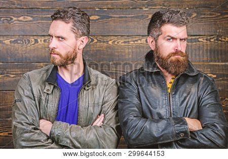 Men Brutal Bearded Hipster. Confident Competitors Strict Glance. Masculinity Concept. Masculinity At