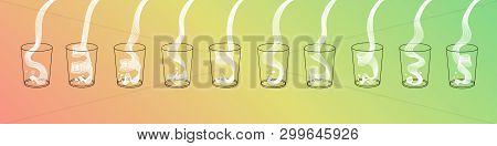 Vector Milk Splash Pour In Glass Set. Vector Isolated Transparent Illustration. Dairy Product, Yogur