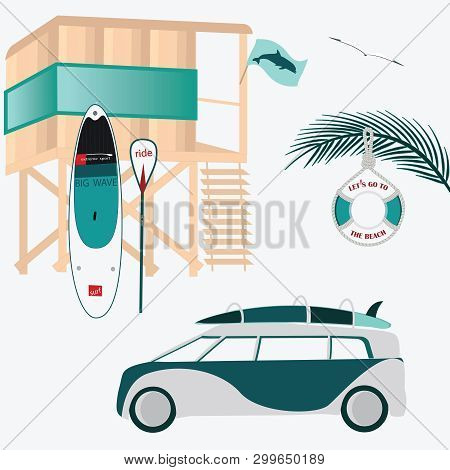 Tower For Lifeguard On The Water. Tourist Modern Car For Transportation Of Surfboards. Lifebuoy - Ve
