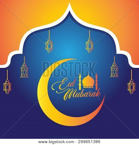 Eid Mubarak Celebrations. Eid Mubarak Greetings Background. Islamic Holy Eid Al-fitr. Vector Holiday