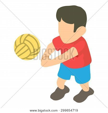 Volleyball Player Icon. Isometric Illustration Of Volleyball Player Icon For Web