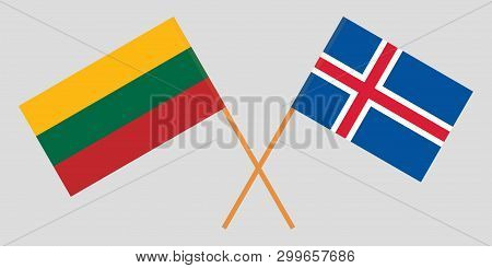 Iceland And Lithuania. The Icelandic And Lithuanian Flags. Official Colors. Correct Proportion. Vect
