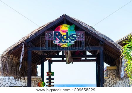Negril, Jamaica - February 15, 2019: Sign At Entrance To Ricks Cafe, A Famous Sports Bar And Restaur
