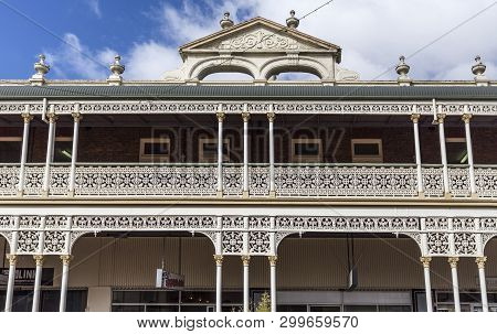 Armidale, Australia - April 10, 2019: Detail Of The Heritage Listed Hotel Built In 1889 And Ornament