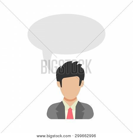 Monologue. Businessman Says. Man In Business Suit With Speech Bubble. People Icon In Flat Style. Vec