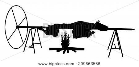 Ox On Spit. Isolated White Background. Eps File Available.