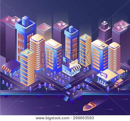 Modern city night Modern city night isometry vector illustration poster