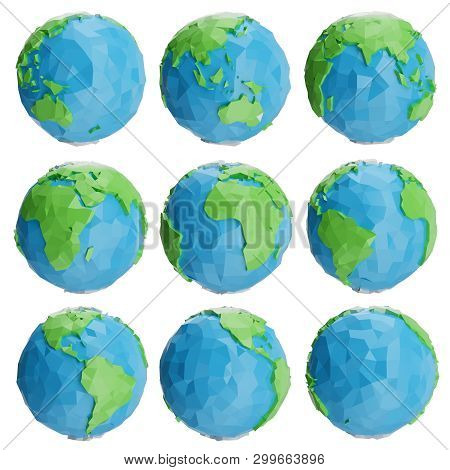 Set Of Low Poly Earth Globe Illustration. Collection Polygonal Globe Icon, Low Poly Design. Creative