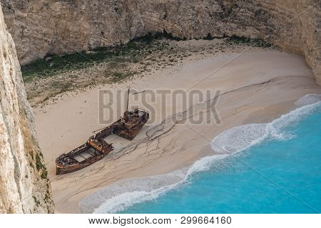 Wreck Of A Smugglers Ship On The Beach At The Bottom Of The Stunning Shipwreck Cove, Zante Island, G