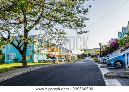 Residential Neighborhood Of Colorful Town Houses/vacation Homes. Upscale Gated Community Residences