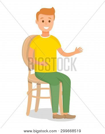 Redhead Model Flat Vector Character Illustration. Young Caucasian Man Sitting On Chair With Backrest