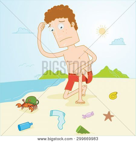 Illustration Of A Man Observe Dirty Beach