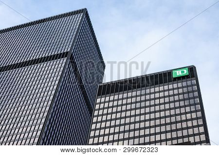 Toronto, Canada - November 13, 2018: Td Bank Logo In Front Of Their Branch For Toronto, Ontario. Als
