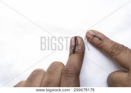 Indian citizens voted , exercized voting rights and got their index fingers inked. India is the largest democratic country in the world and Governments are formed by voting. Vote image with copyspace. poster