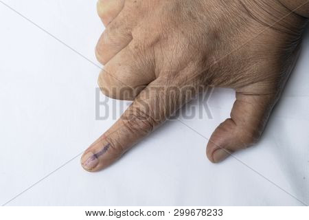 A Senior Citizen Indian Woman Voted , Exercized Her Voting Right And Got Her Index Finger Inked. Ind