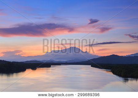 Majestic Mount Kinabalu with beautiful Twilight Sunrise and amazing sky clouds, Tuaran,Sabah,Borneo (Soft Focus) poster