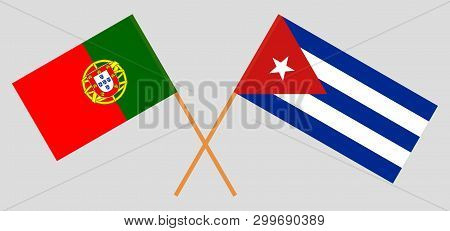 Cuba And Portugal. The Cuban And Portuguese Flags. Official Colors. Correct Proportion. Vector Illus