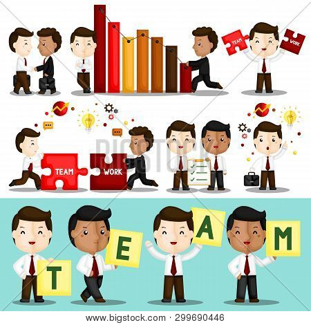 A Vector Set Of Cute Businessman Working Hard Together To Build Their Great Teamwork
