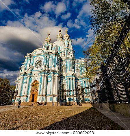 Smolny Or Voskresensky Smolny Monastery Is Located On Rastrelli Square, On The Banks Of The Neva Riv