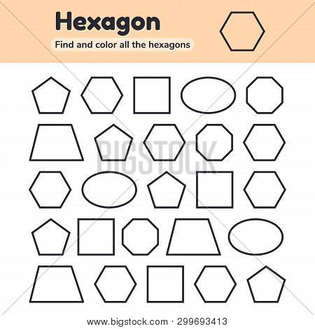 Educational worksheet for kids kindergarten, preschool and school age. Geometric shapes. Pentagon, octagon, hexagon, trapezoid, oval, square. Find and color. poster