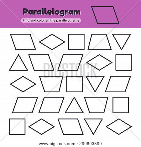 Educational worksheet for kids kindergarten, preschool and school age. Geometric shapes. Rhombus, parallelogram, triangle, square, trapezoid. Find and color. poster