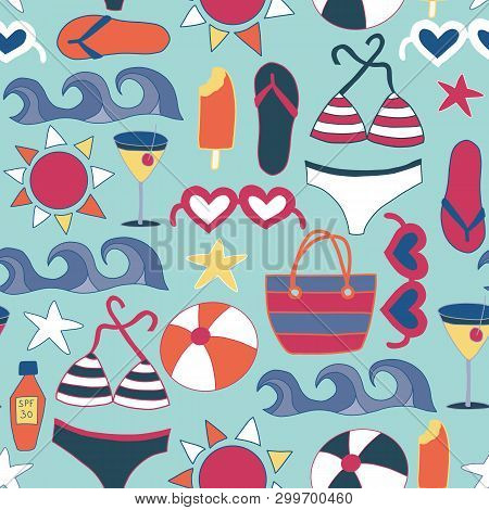 Beach Icons Flat Seamless Vector Background Tile