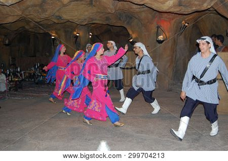 Red Sea, Egypt - Circa 2008 - Colorful Bedouin Dancers In A Egyptian Red Sea Resort Preform For Visi