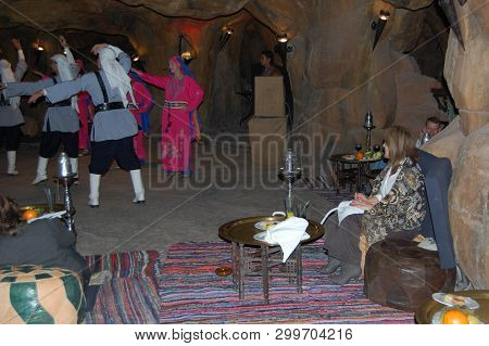 Red Sea, Egypt - Circa 2008 - Bedouin Dancers In A Egyptian Red Sea Resort Preform For Visiting Tour