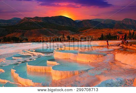 View Of Sunset At Pool Of Pamukkale In Turkey