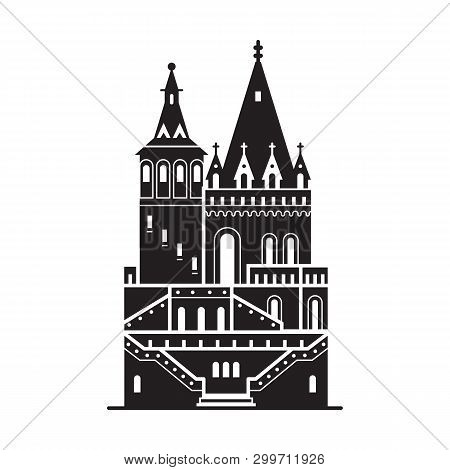 Travel Budapest Icon. Fisherman Bastion Towers Is One Of The Famous Architectural Landmarks And Attr