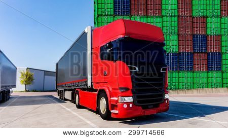 Red Truck . Delivery Of Freight .  Truck - Trucking, Freight Transport