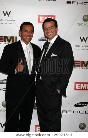 LOS ANGELES, CA - FEB 13: Antonio R. Villaraigosa  & Elio Leoni-Sceti at the EMI GRAMMY After-Party at Milk Studios on February 13, 2011 in Los Angeles, California