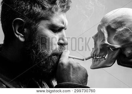 Habit To Smoke Tobacco Bring Harm To Your Body. Smoking Cause Health Damage And Death. Man Smoking C