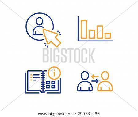 Instruction Info, User And Histogram Icons Simple Set. Communication Sign. Project, Project Manager,