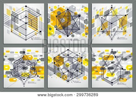 Vector Of Modern Abstract Cubic Lattice Lines Yellow Backgrounds Set. Layout Of Cubes, Hexagons, Squ
