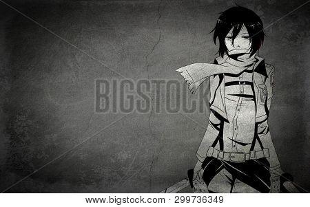 Sad Anime Girl With Gradient Gray Background