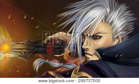 Anime Boy With White Hair And Weapon In Hand