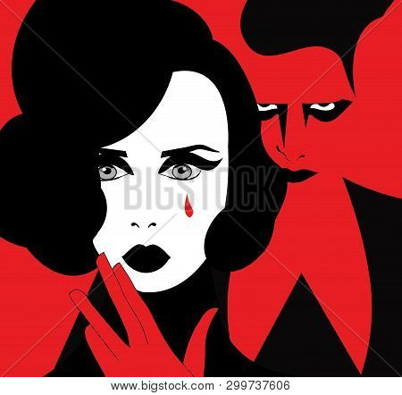 Illustration Of A Woman Crying With An Evil Man Behind Her Who Provoked Her Suffering