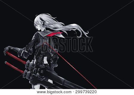 Cute Anime Girl With White Hair And Black Background