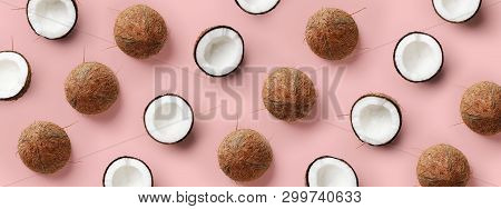 Coconut Pattern On Pastel Pink Background. Summer Concept. Flat Lay, Top View